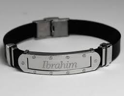 mens engraved necklaces name bracelet ibrahim mens silver tone framed engraved