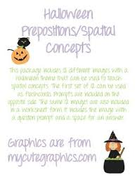 halloween themed spatial concept preposition flash cards and