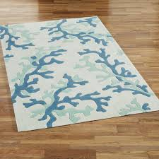 Green And White Area Rug Coral Fixation Area Rug