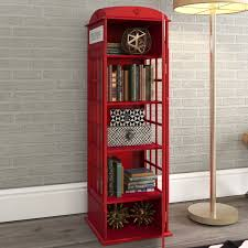 london phone booth bookcase red barrel studio rodriques phone booth storage accent cabinet