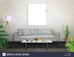 Living Room Art Canvas by Isolated Art Canvas In Living Room For Mockup Brick White Wall