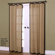 White Bamboo Curtains Patio Two Panel Doors With White Color And Wooden Frame Also With