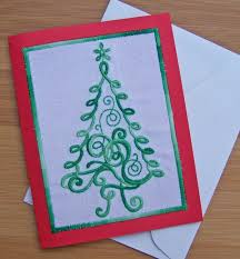 embroidered christmas christmas tree greeting card weallsew