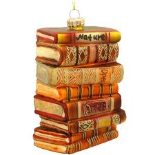 stack of books glass ornament hobbies ornaments
