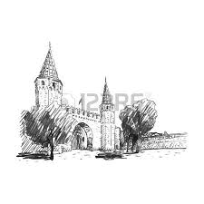 blue mosque istanbul turkey vector freehand pencil sketch