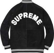 lamborghini clothing supreme suede varsity jacket