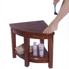 teak shower bench corner treenovation