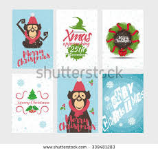 merry greeting card set stock vector 717639571