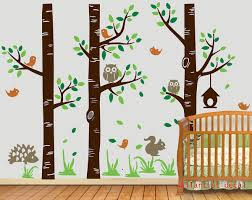 vinyl wall decal three birch trees nursery tree decals cute owl
