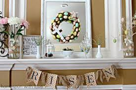 Easter Decorations On Mantel by Homespun With Love Pastel Easter Mantel