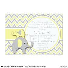 yellow and gray elephant baby shower invitation grey elephant