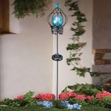 solar led stake lights crackle glass solar garden light iron artwork sculpture blue led