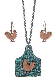 wholesale animal necklace images Wholesale farm animal ear tag pendant necklace set chicken 442583 JPG