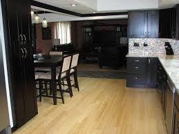 dazzling black cabinets drawers with cool dining set on laminate