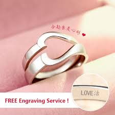 half ring two half hearts puzzle promise rings for women and men simple