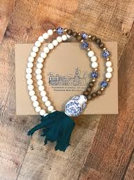 handmade statement necklace images Handmade sari tassel necklace blue and white chinoiserie bead jpg