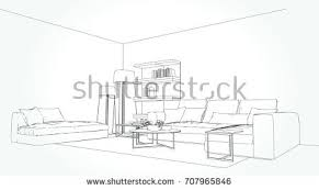 linear sketch interior living room plan stock vector 710217265