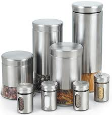 kitchen canisters and jars amazon com cook n home stainless steel canister and spice jar set