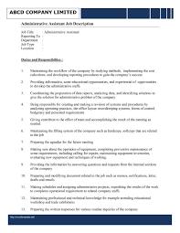 Personal Assistant Job Description Resume by Assistant Executive Assistant Job Description Resume
