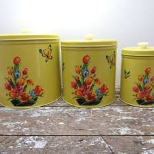 yellow canister sets kitchen shop vintage kitchen canister sets on wanelo