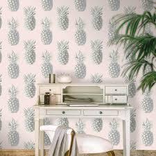 grandeco pineapple pink silver metallic wallpaper 135201