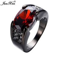 black zircon rings images Junxin retro vintage red ring black gold filled zircon ring women jpg