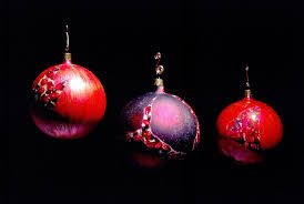 hand made hand painted pomegranate christmas ornament by mark