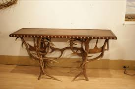 Handmade Leather Chairs Handmade Leather And Antler Entry Sofa Table By Estes Woodworks