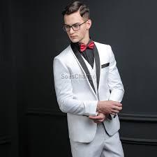 costume mariage blanc costume blanc mariage homme pas cher col châle noir 3