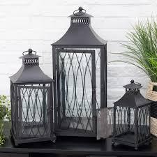 hawthorne black metal lanterns set of 3 hayneedle
