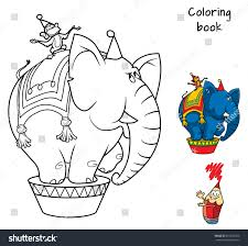 circus elephant monkey coloring book cartoon stock vector