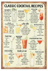 classic cocktail recipes vintage metal signs tin plate wall