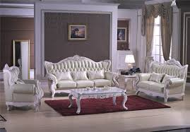 Gold Leather Sofa Leather Sofa Living Room Combination White French Manual Carved