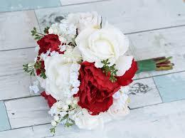 silk wedding bouquet touch open roses peonies silk wedding bouquet