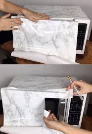 contact paper faux marble microwave with contact paper hometalk