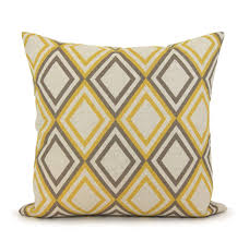 Nicole Miller Decorative Pillows by Gray Micofiber Sofa Geometric Yellow And White Throw Pillow 16inch
