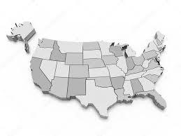 Labeled Map Of Us Gray Map Of Usa 3d U2014 Stock Photo Yermek 6220104