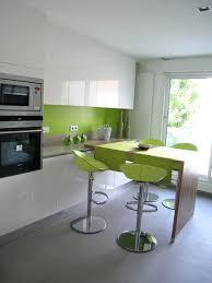 cuisine verte pomme cuisine blanche rehaussace par le bois et le vert sylvie briand