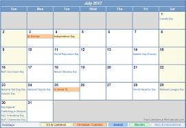 july 2017 calendar with holidays monthly calendar printable