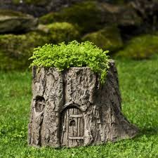 tree stump planters gnome home planter cast stone garden statue