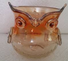 vintage glass owl creamer carnival glass dish pitcher collectible