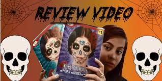 halloween face decals day of the dead face glitter tattoo review youtube