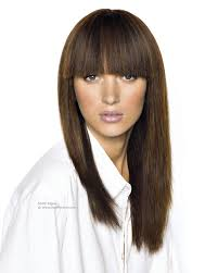 long straight hairstyle with broad bangs and one side shorter than