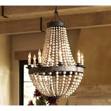 bead chandelier pottery barn wood bead chandelier polyvore