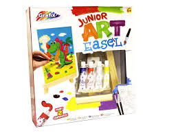 junior kids art craft wooden easel with paint pack gift set