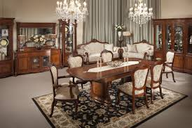 exciting formal dark brown polished teak wood dining room table