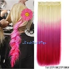 hot hair extensions white to hot pink three colors ombre hair