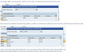 Sap Material Master Tables by Material Search Help Enhancement