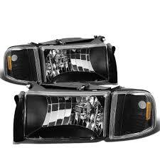 Dodge Ram 94 - 94 01 dodge ram 1500 2500 3500 oem style crystal headlights black