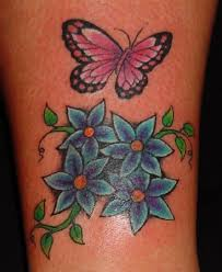 butterfly and flower tattoos a unique design